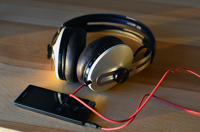 Sennheiser Momentum Wireless headphones with Sony NWZ-A15 high-resolution walkman.