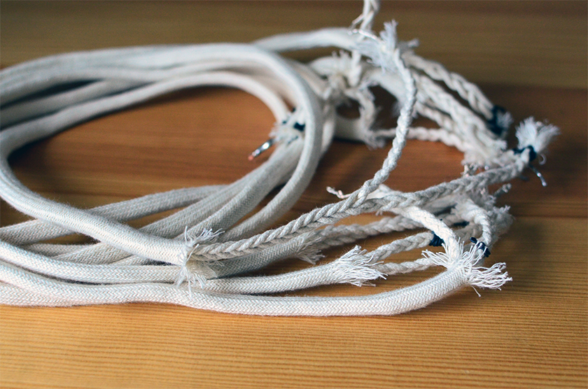Braided silver-in-cotton speaker DIY cables