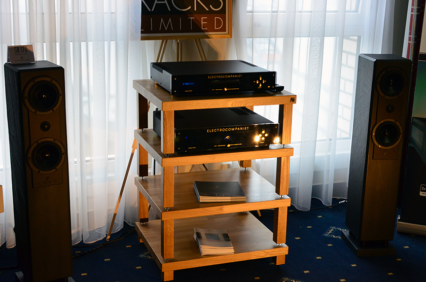 Fisher & Fisher SN 170 paired with Electrocompaniet CD player and integrated amplifier on Hi-Fi Racks Limited