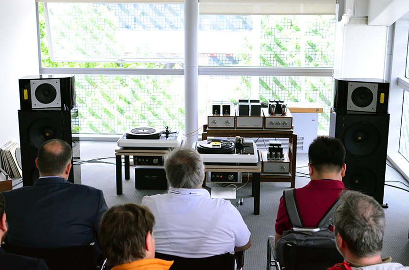 Wold von Langa's room with his new range of field-coil speakers called Audio Frame and amplification from Thomas Mayer.