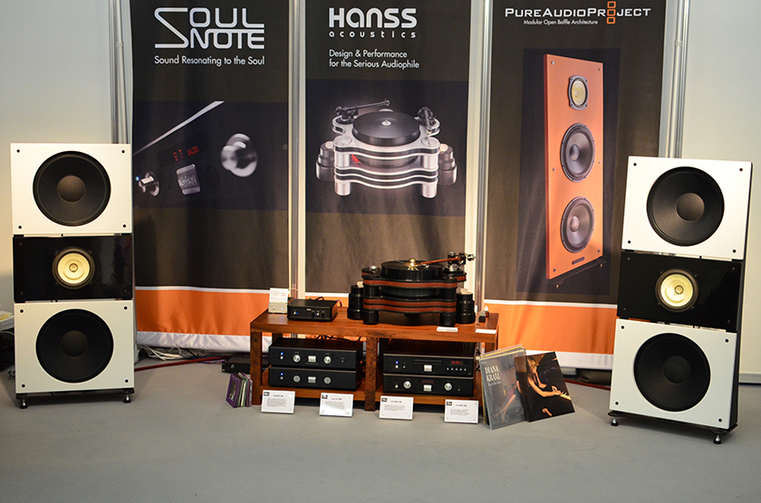 Pure Audio Project open baffle speakers driven by Soulnote amplification.