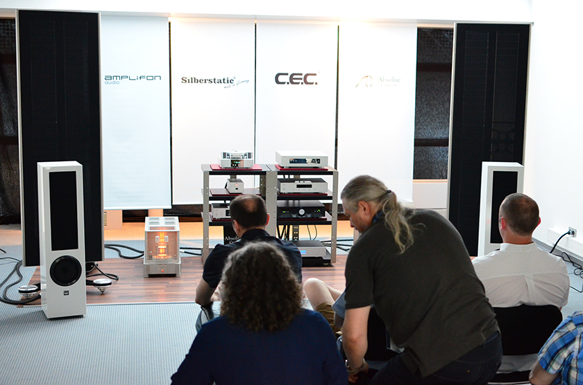 Big Silberstatic Nr. 8 electrostatic speakers at the background, Amplifon SET 140 monaural power amplifiers, digital frontend from CEC.