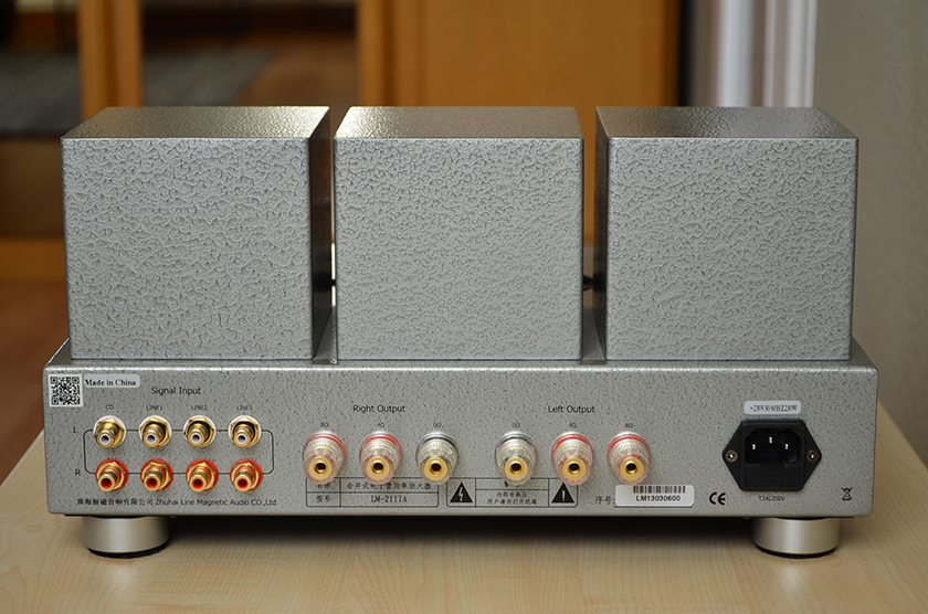 Line Magnetic LM-211IA integrated tube amplifier back view