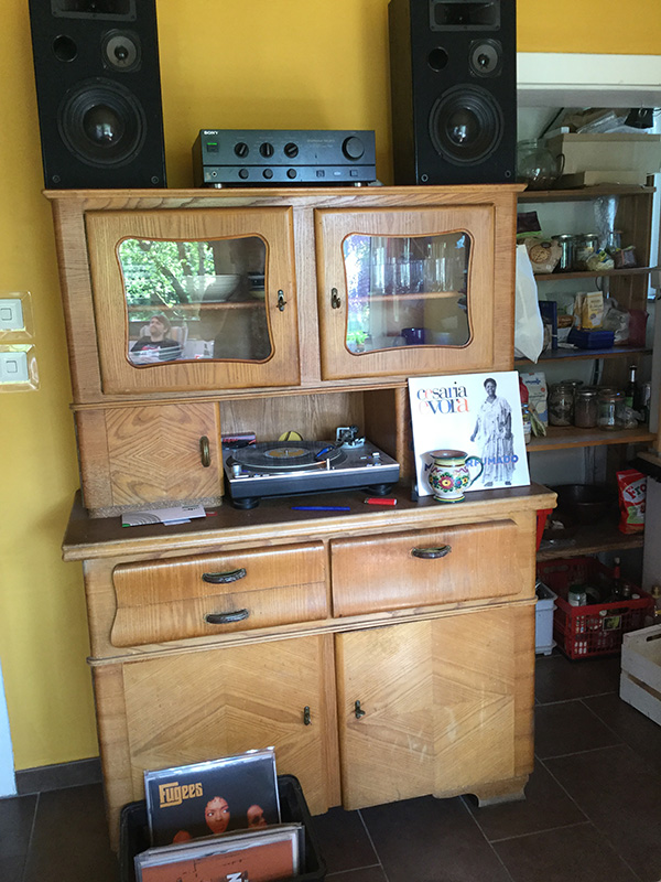 Nadia's vintage vinyl rig located in the kitchen.